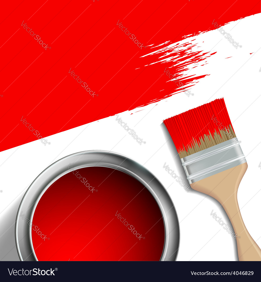 Paint brush and a bucket of red paint vector | Price: 1 Credit (USD $1)