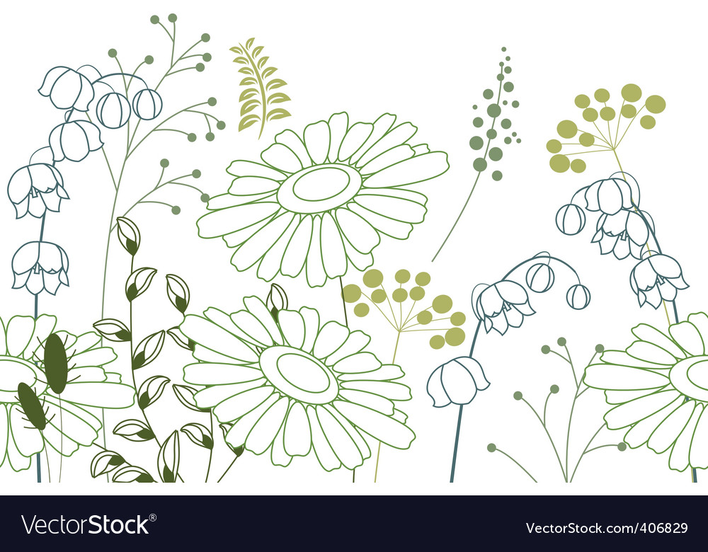 Seamless background with stylized flowers vector | Price: 1 Credit (USD $1)