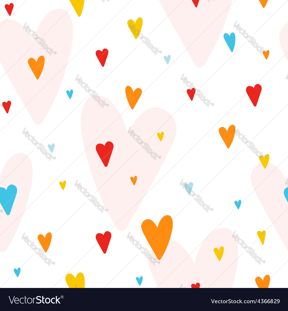 Seamless pattern with colorful hearts vector | Price: 1 Credit (USD $1)