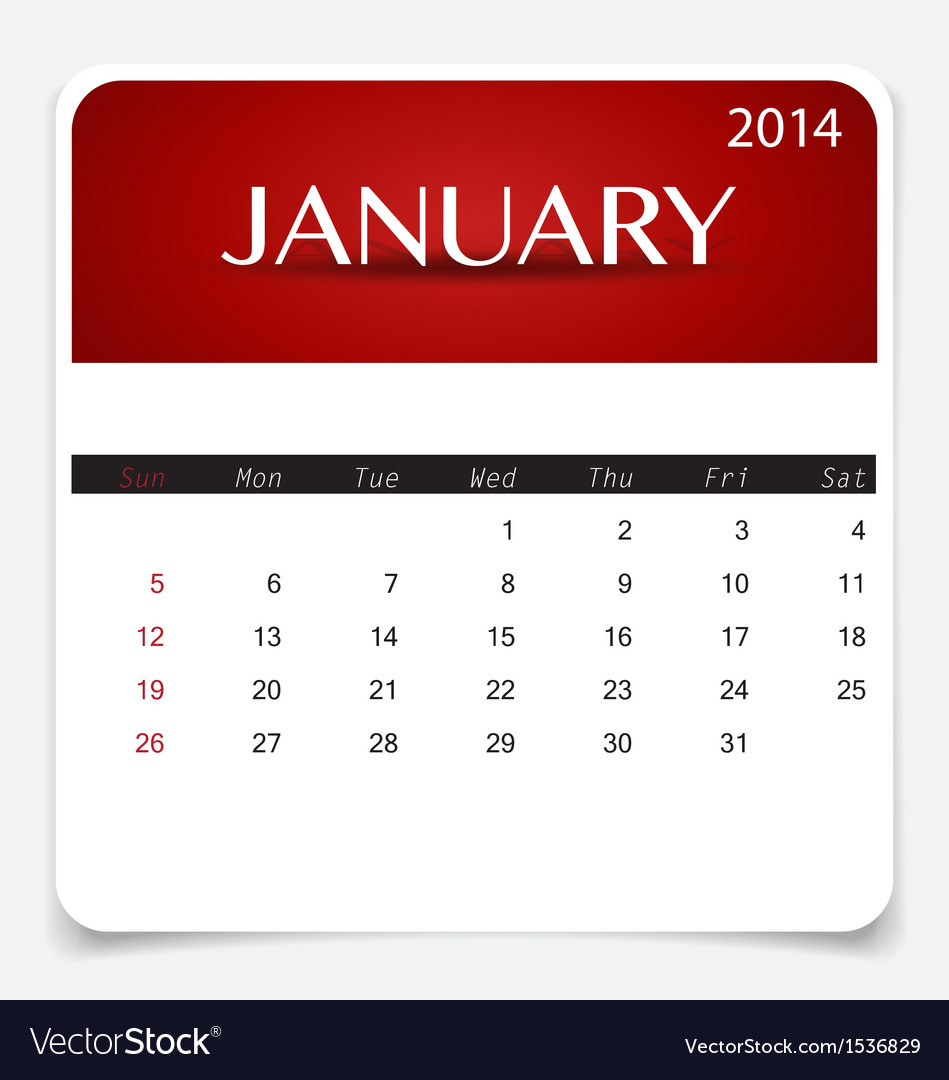 Simple 2014 calendar january vector | Price: 1 Credit (USD $1)