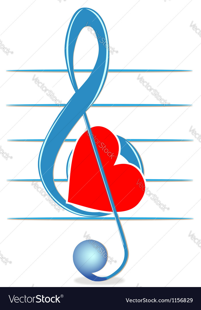 Treble clef and heart vector | Price: 1 Credit (USD $1)