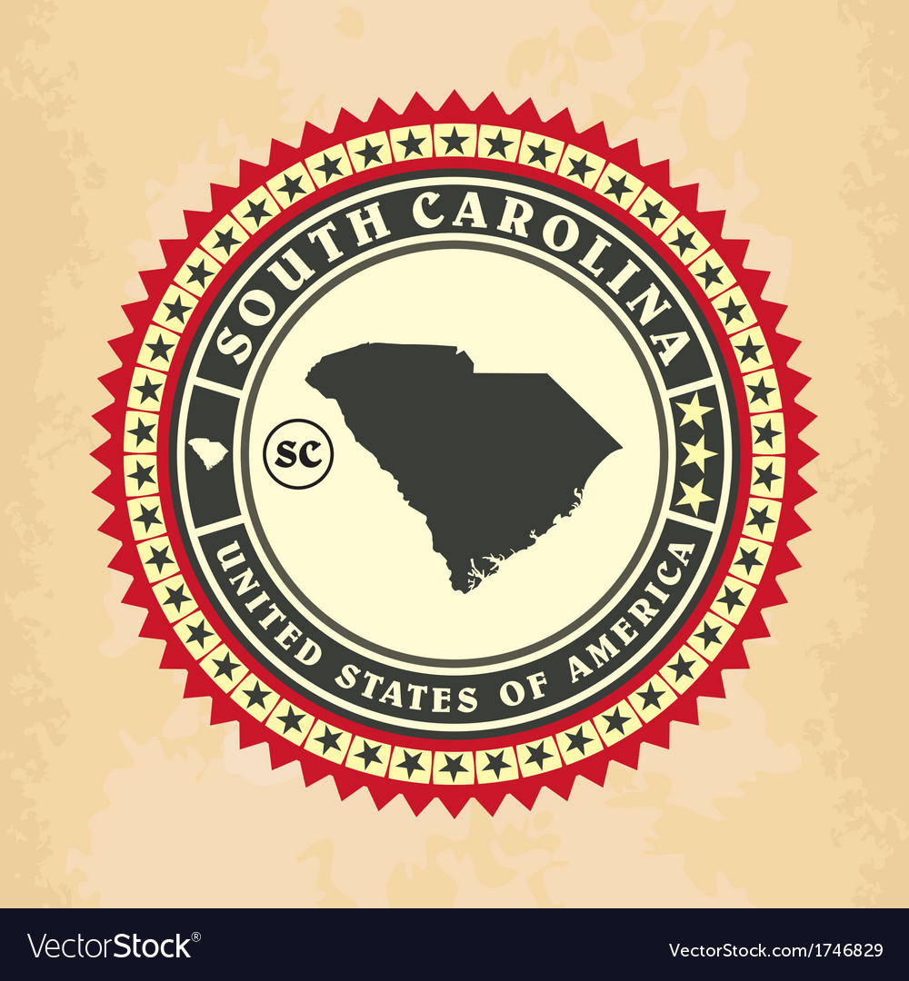 Vintage label-sticker cards of south carolina vector | Price: 1 Credit (USD $1)