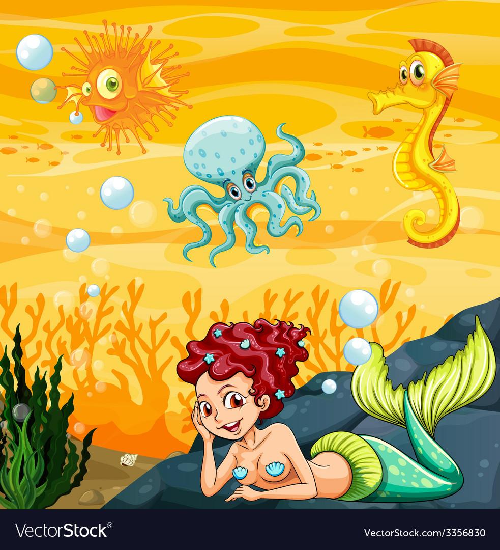 A mermaid under the sea vector | Price: 3 Credit (USD $3)