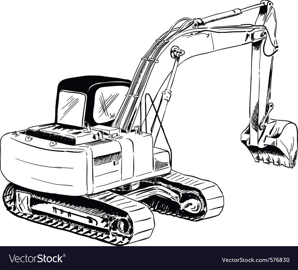 Black sketch of big excavator vector | Price: 1 Credit (USD $1)