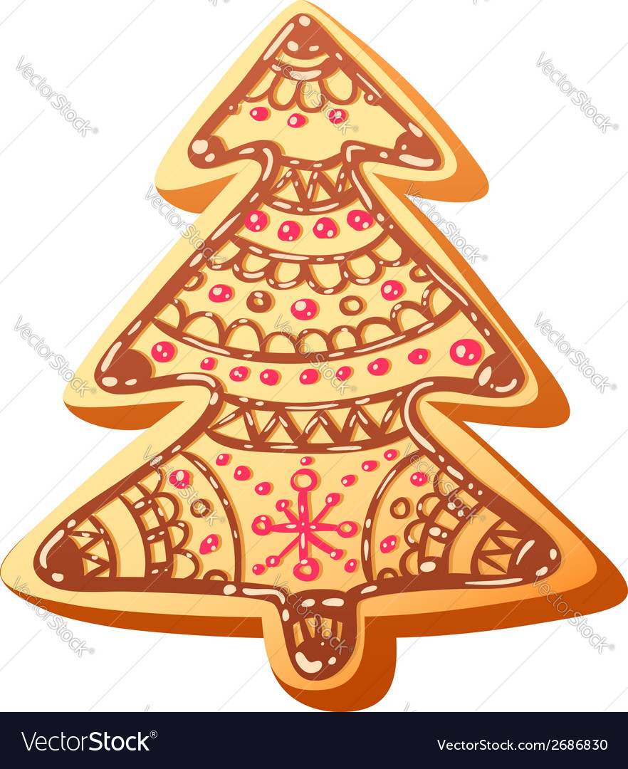 Christmas gingerbread baked cookie isolated vector | Price: 1 Credit (USD $1)