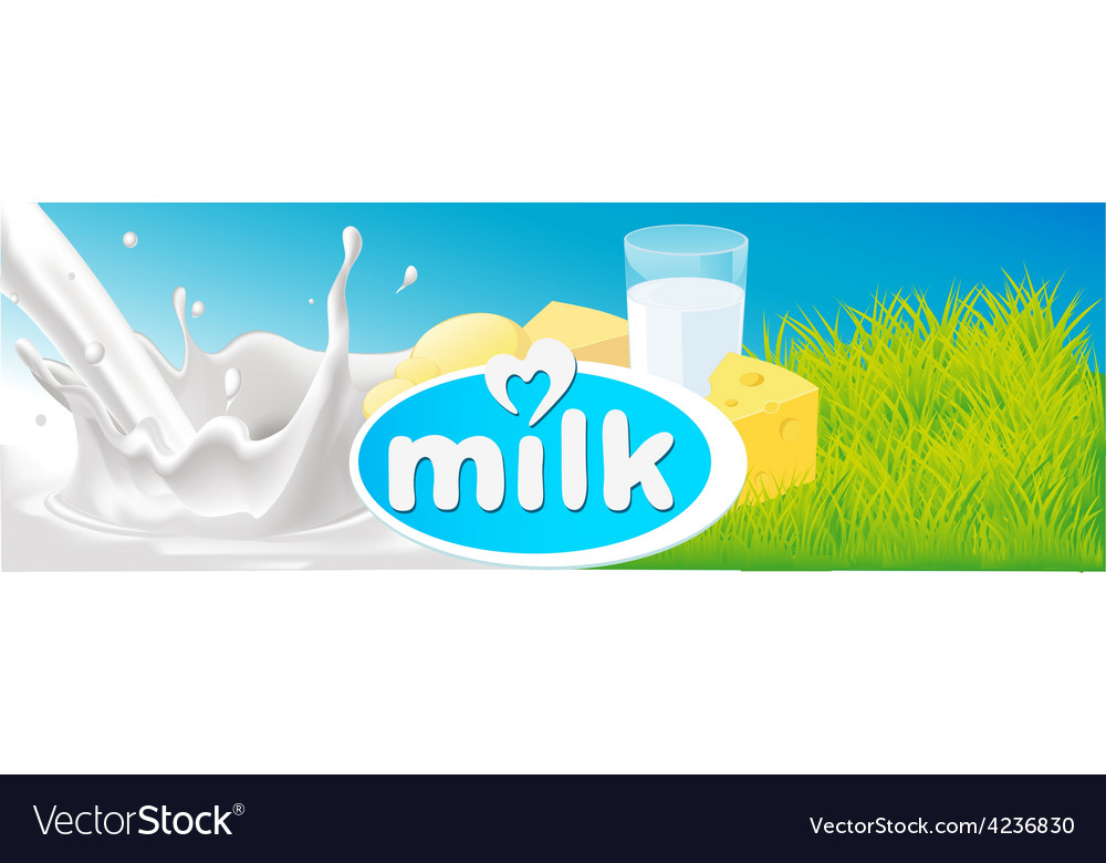 Design with milk splash dairy product and green vector | Price: 1 Credit (USD $1)