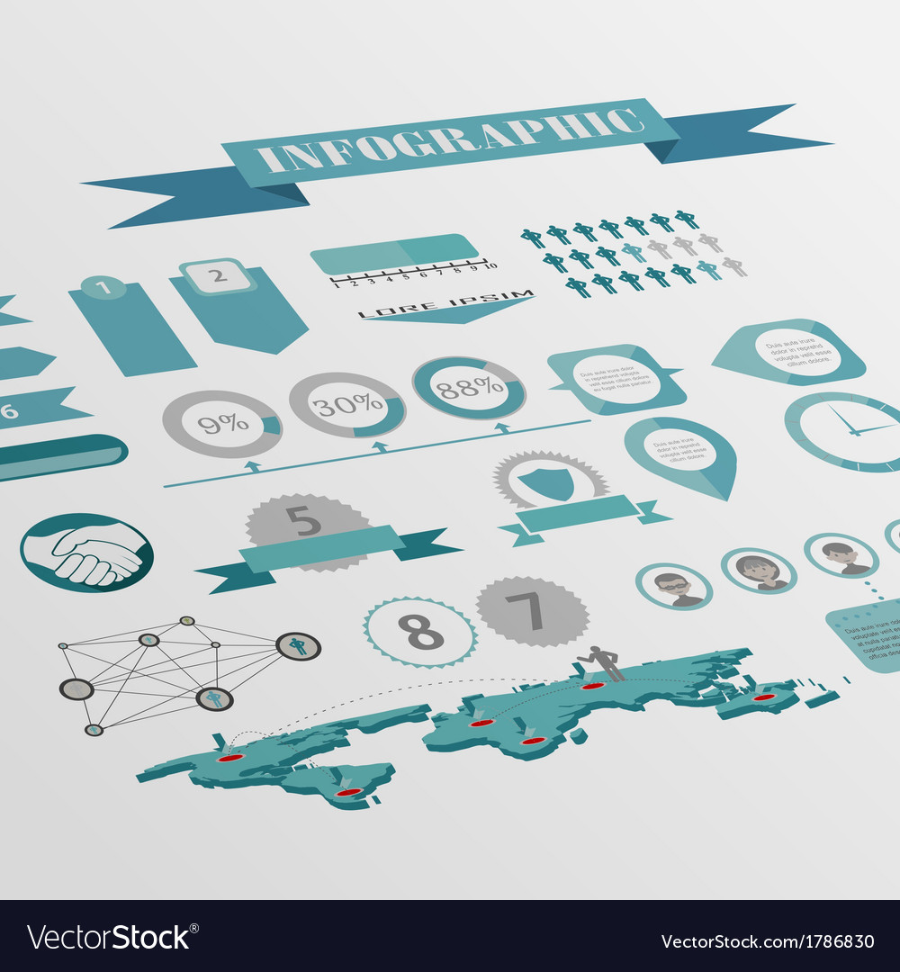 Flat isometric infographics background vector | Price: 1 Credit (USD $1)