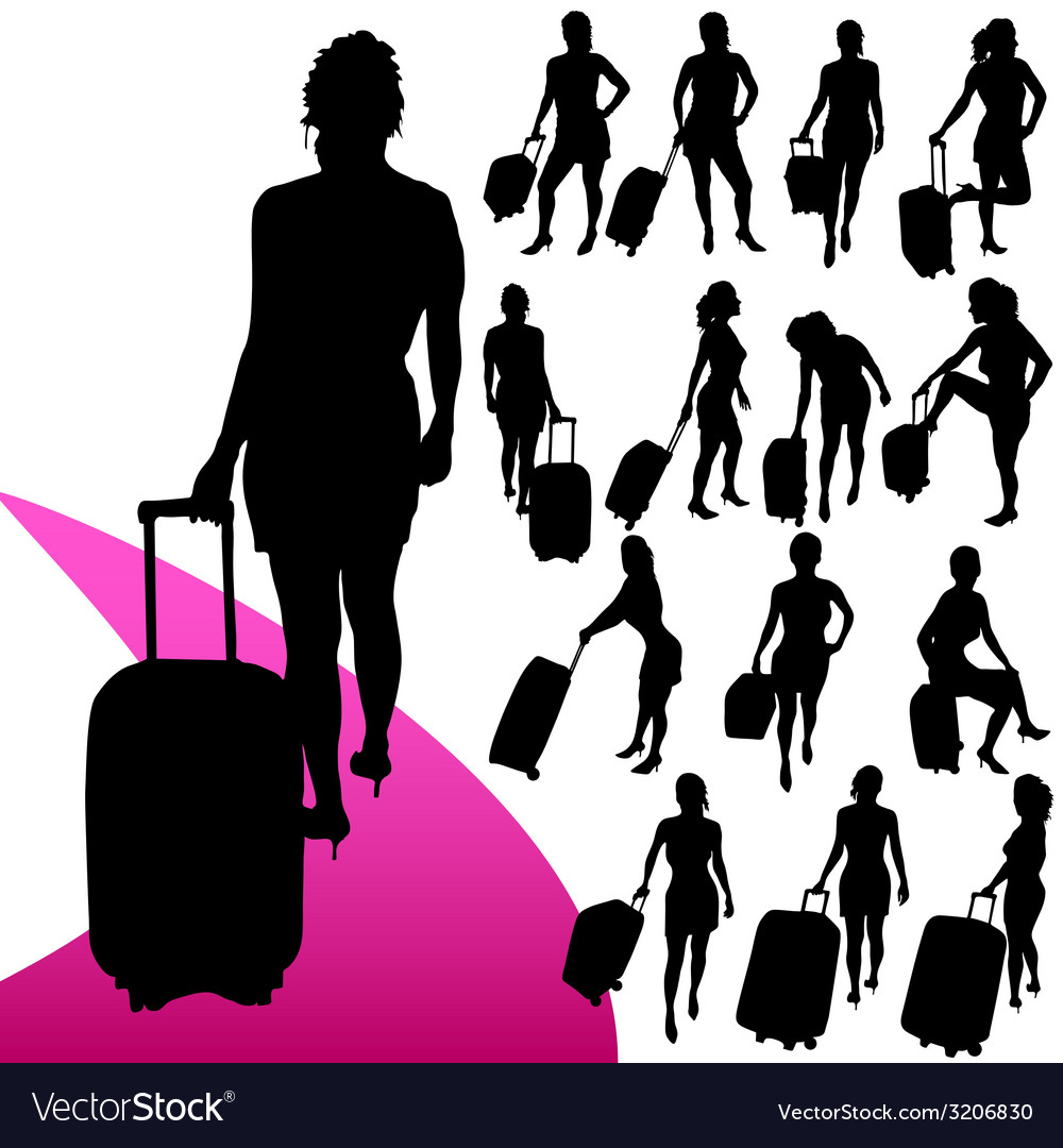 Girl with a travel bag silhouette vector | Price: 1 Credit (USD $1)