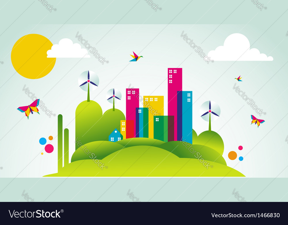 Green city spring time concept vector | Price: 1 Credit (USD $1)