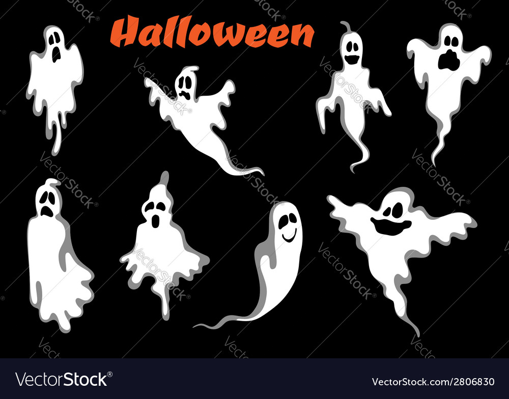 Night halloween ghosts set vector | Price: 1 Credit (USD $1)