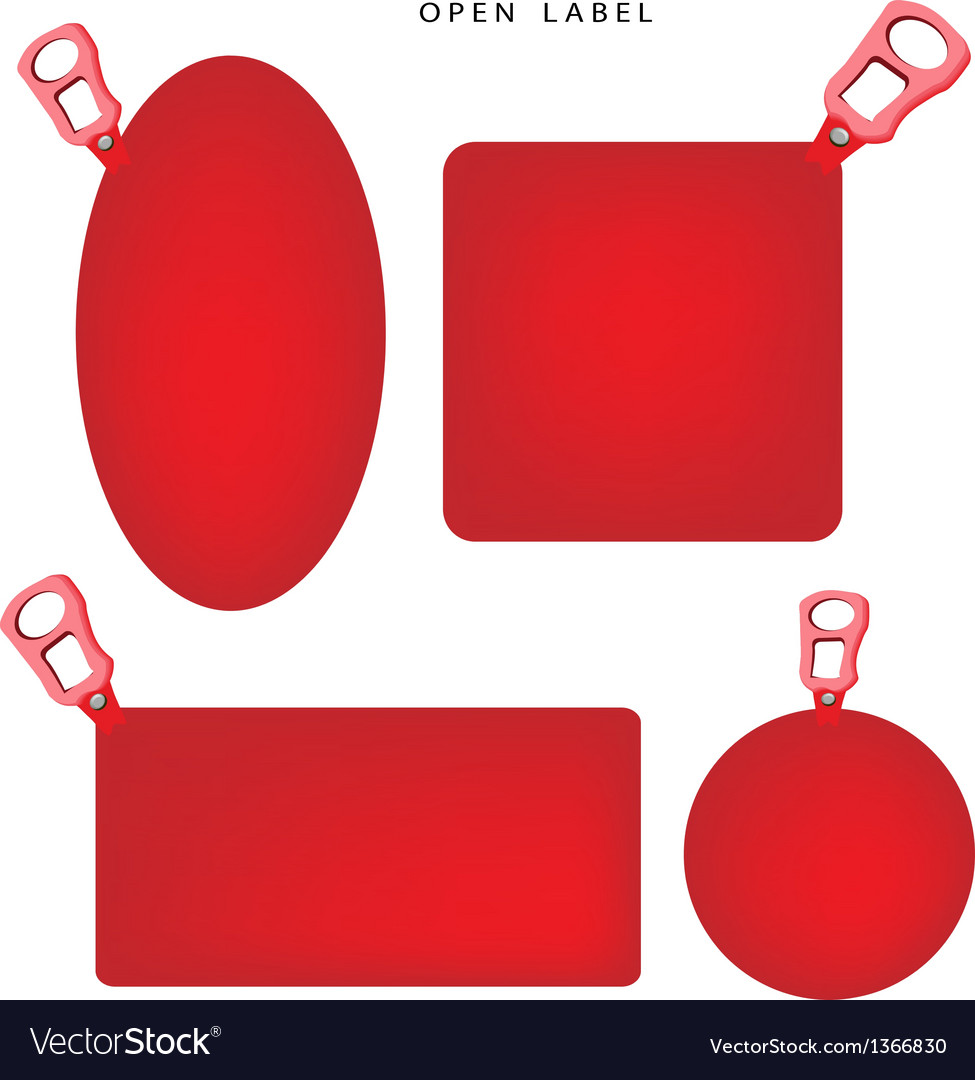 Set of red banner with pull ring vector | Price: 1 Credit (USD $1)
