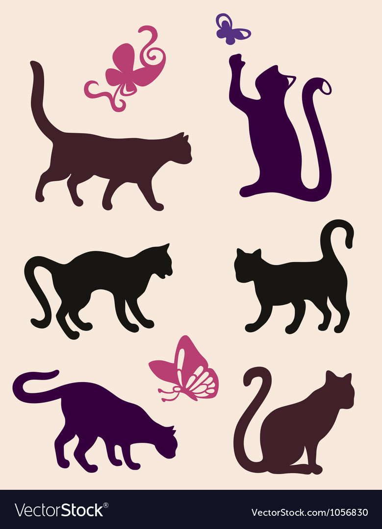 Six cat silhouettes vector | Price: 1 Credit (USD $1)