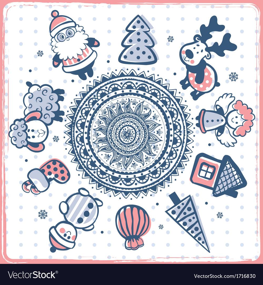 Vintage christmas set of design elements vector | Price: 1 Credit (USD $1)