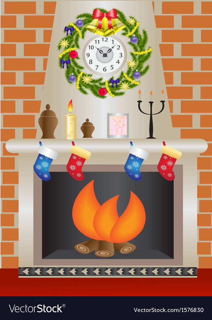 White christmas fireplace vector | Price: 1 Credit (USD $1)