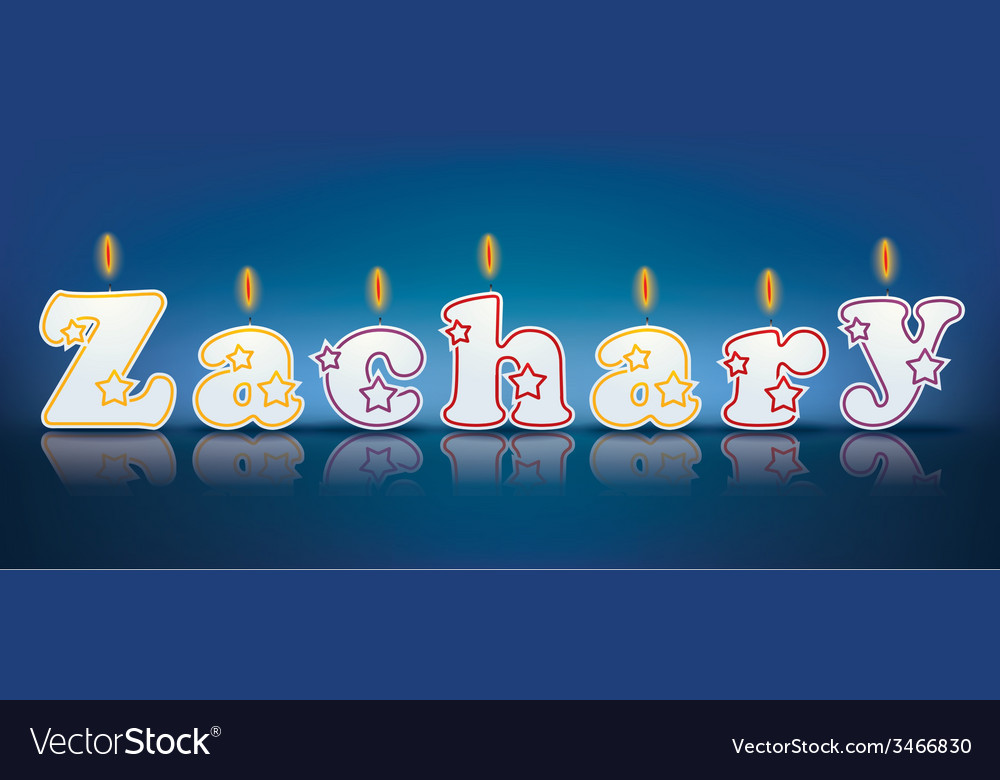 Zachary written with burning candles vector   Price: 1 Credit (USD $1)