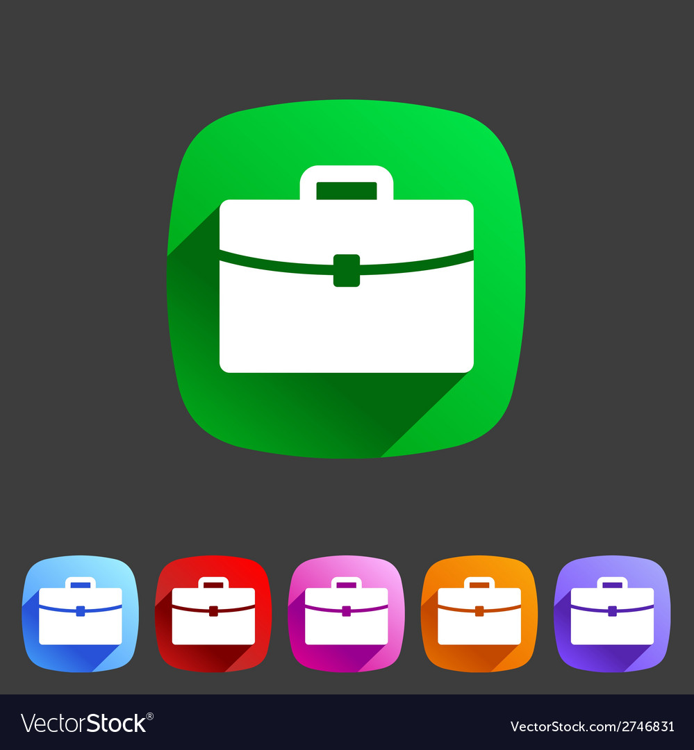 Briefcase portfolio flat icon vector | Price: 1 Credit (USD $1)