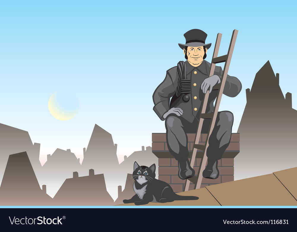 Cat and the chimney sweep vector | Price: 3 Credit (USD $3)