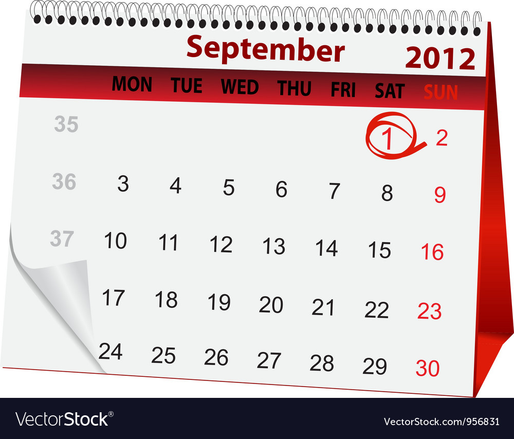 Holiday calendar september 1 vector | Price: 1 Credit (USD $1)