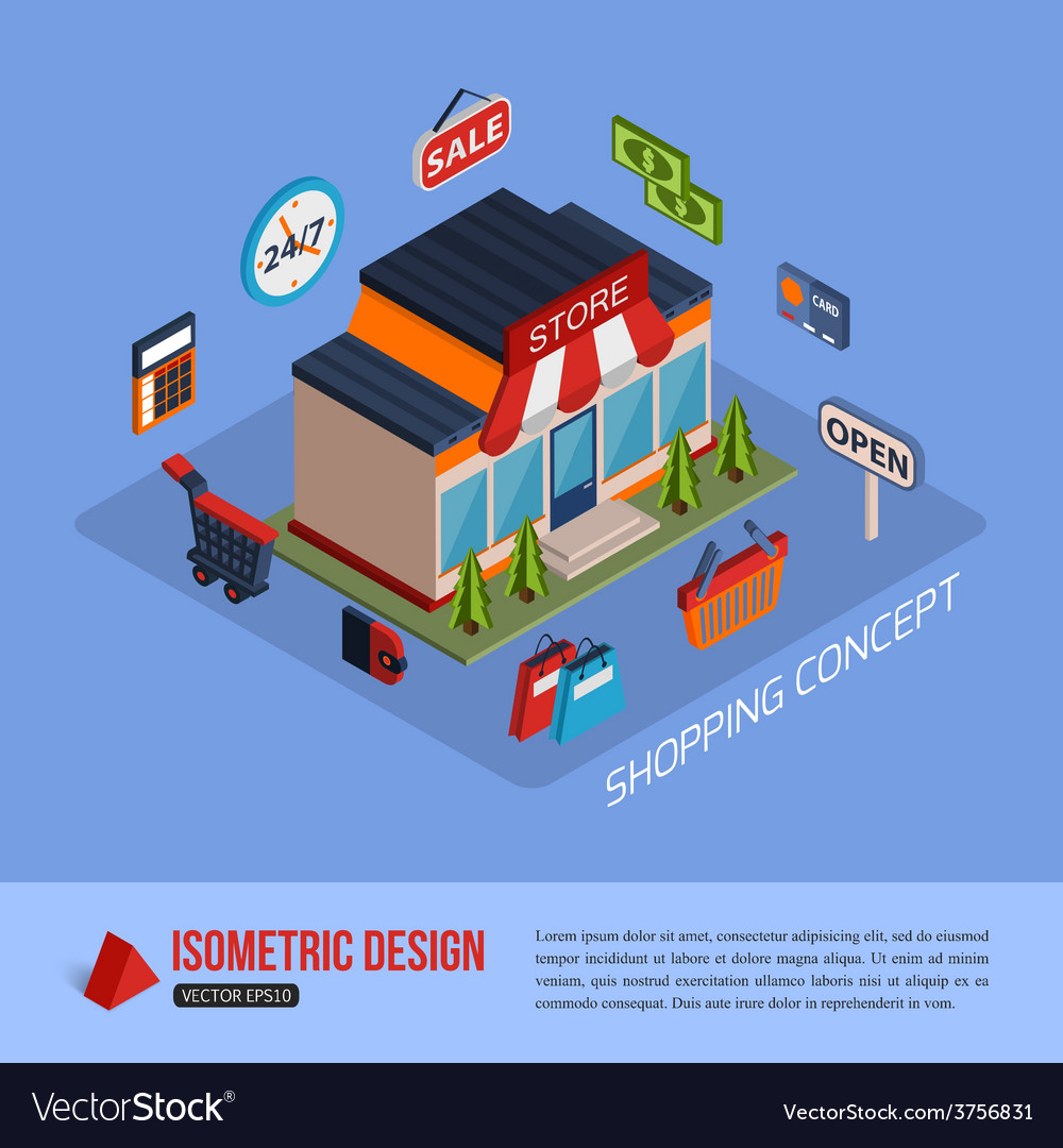 Isometric shopping concept background with place vector   Price: 1 Credit (USD $1)