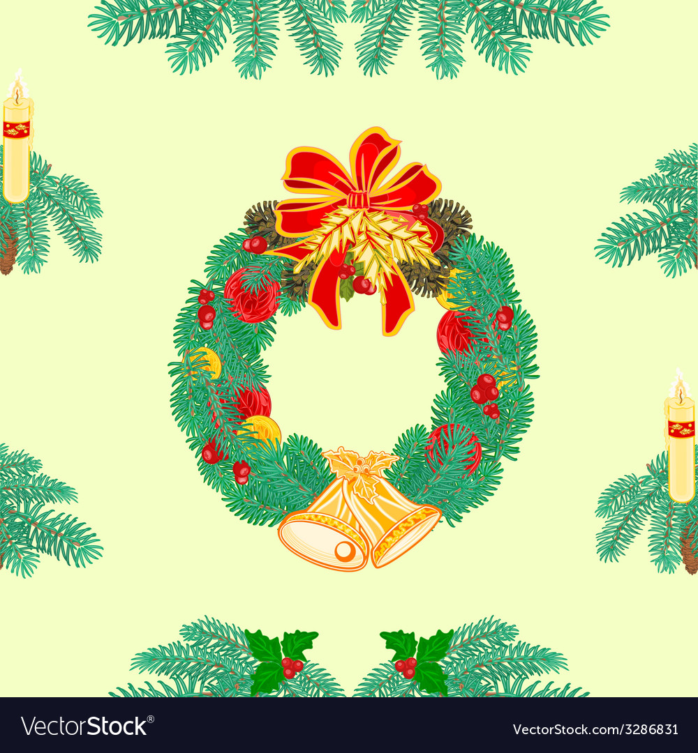 Seamless texture christmas wreath with bells vector   Price: 1 Credit (USD $1)