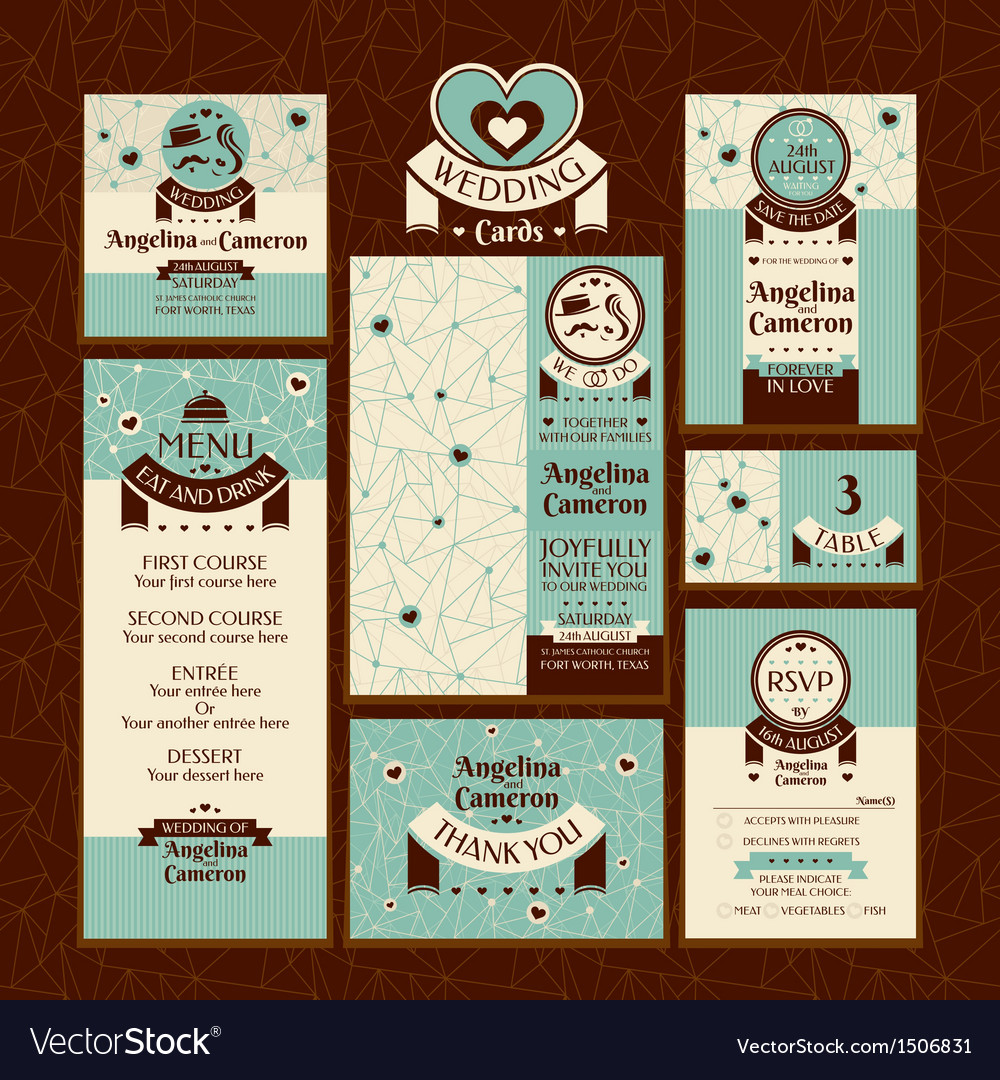 Set of wedding cards vector | Price: 1 Credit (USD $1)