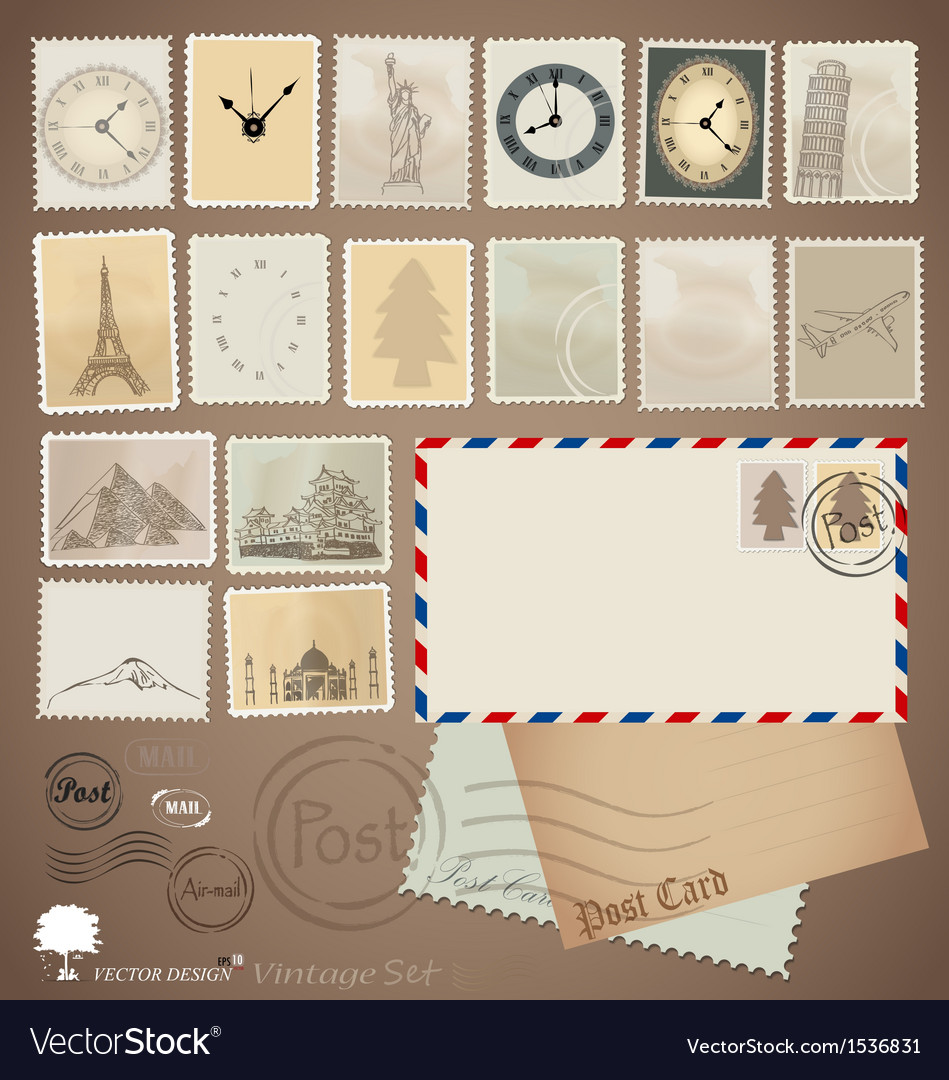 Set vintage stamp designs envelope and postcard vector | Price: 1 Credit (USD $1)