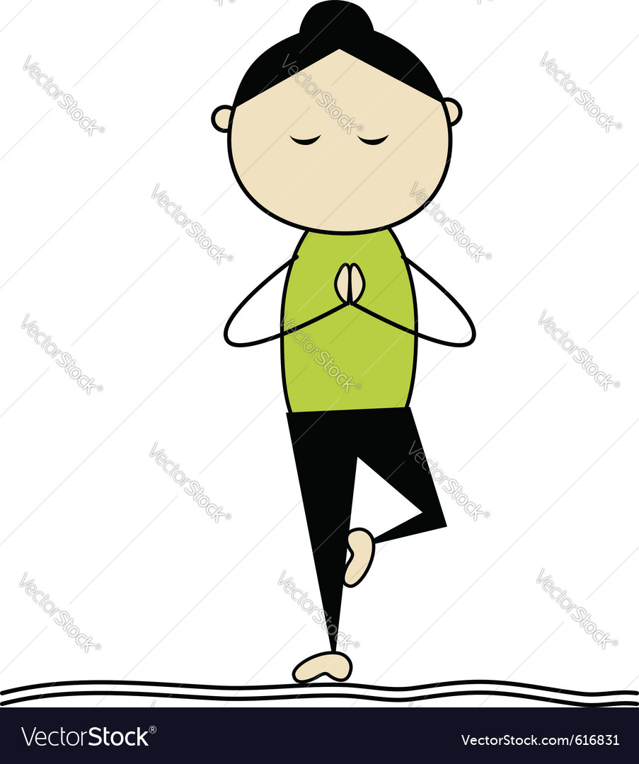Woman practicing yoga tree pose vector | Price: 1 Credit (USD $1)