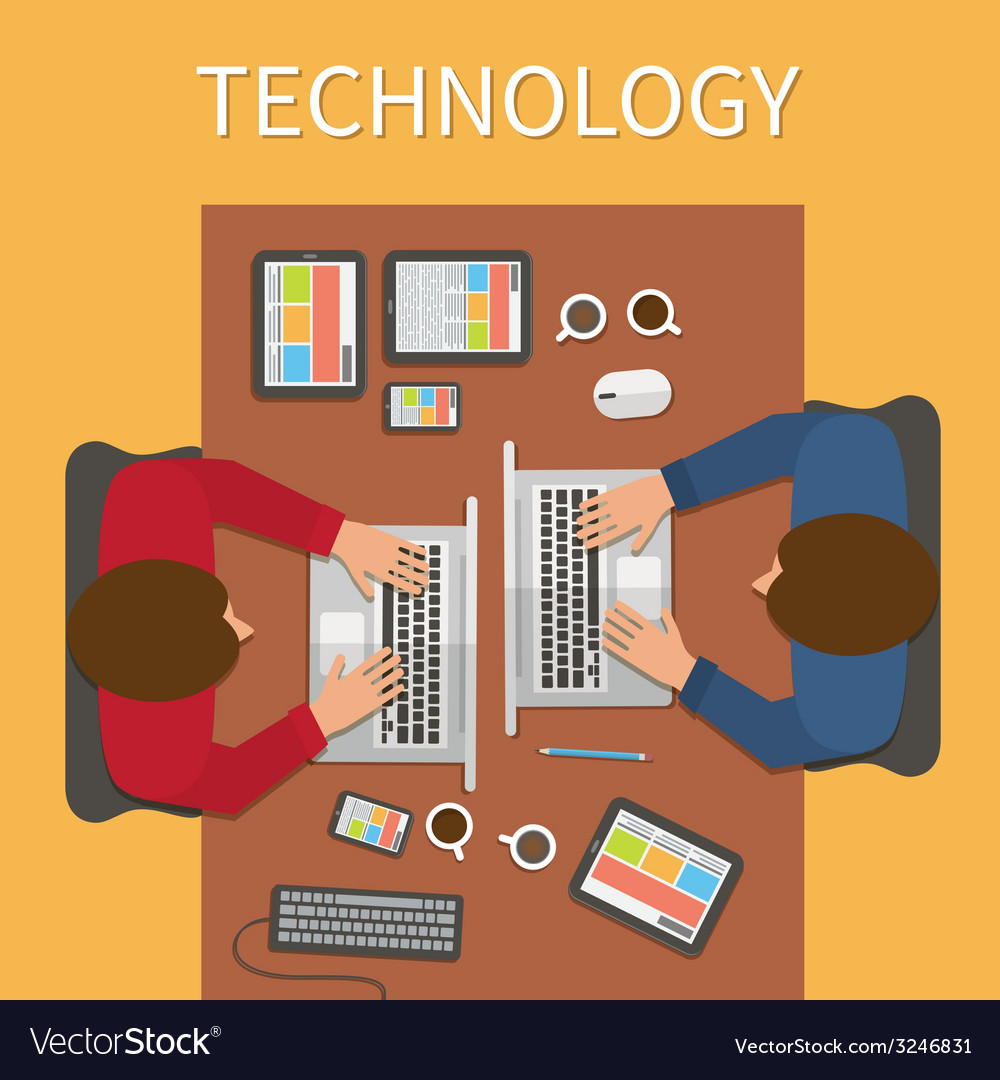 Workplace office desk it technology and web design vector | Price: 1 Credit (USD $1)