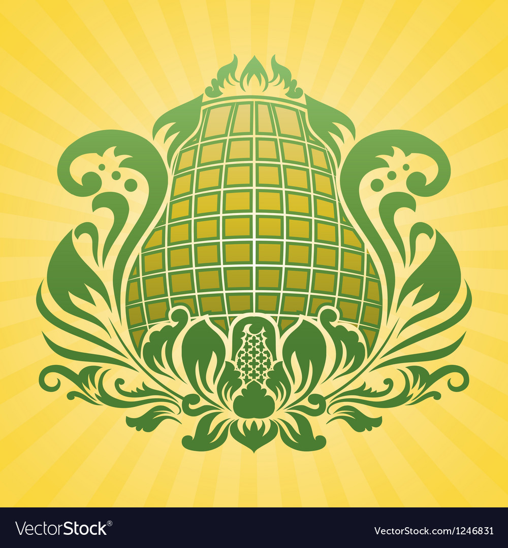 Yellow flower ornament vector | Price: 1 Credit (USD $1)