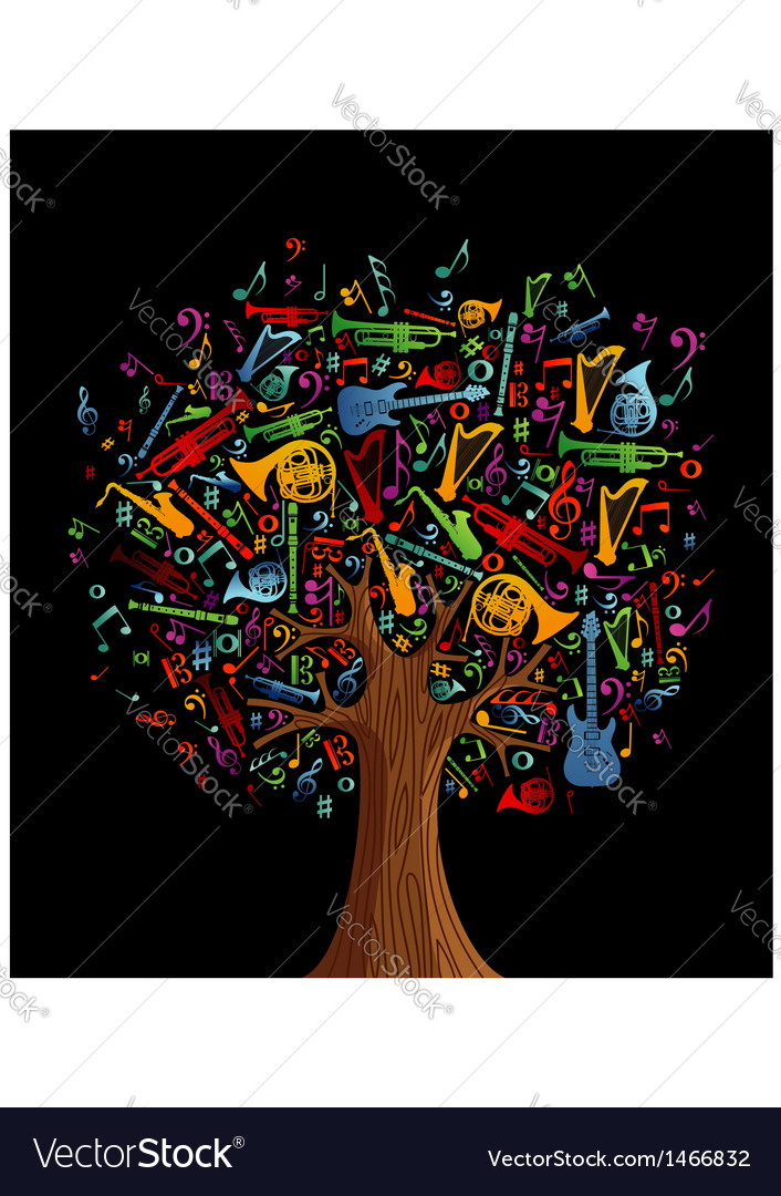 Abstract musical tree vector | Price: 1 Credit (USD $1)