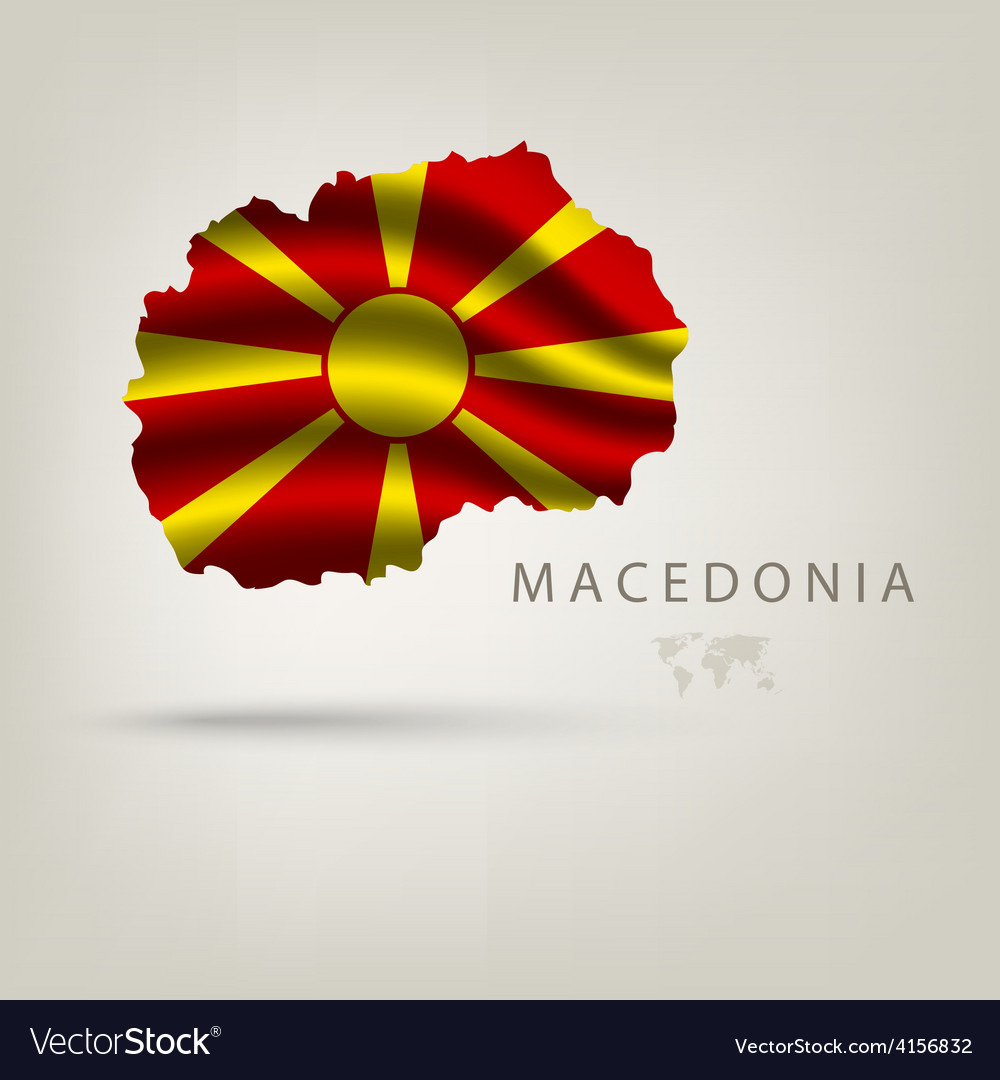 Flag of macedonia as a country with a shadow vector | Price: 3 Credit (USD $3)
