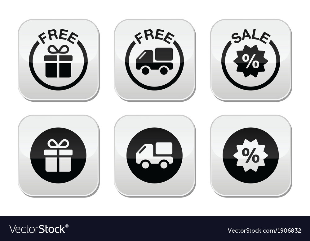Free gift free delivery sale buttons set vector | Price: 1 Credit (USD $1)