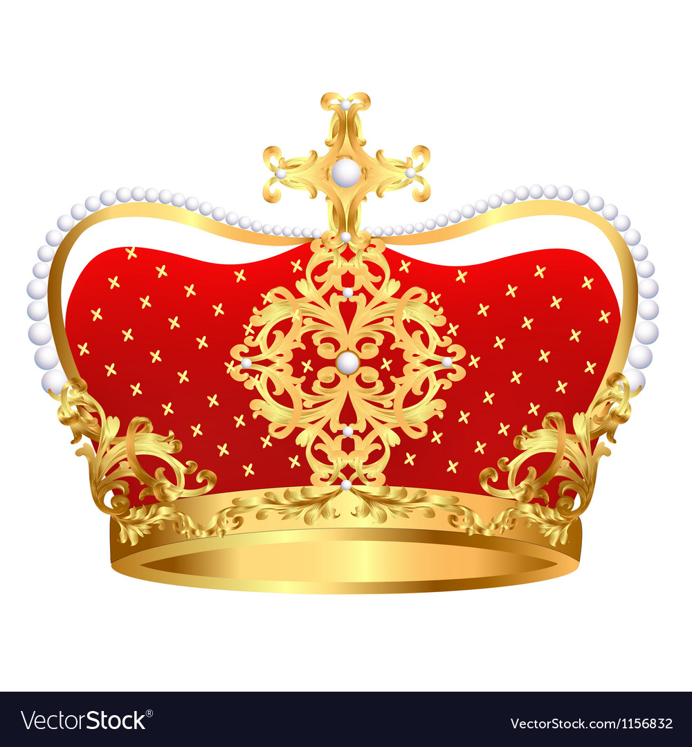 Royal gold crown with ornament and pearls vector   Price: 1 Credit (USD $1)