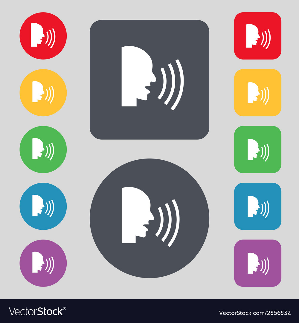 Talking flat modern web icon set colour button vector   Price: 1 Credit (USD $1)