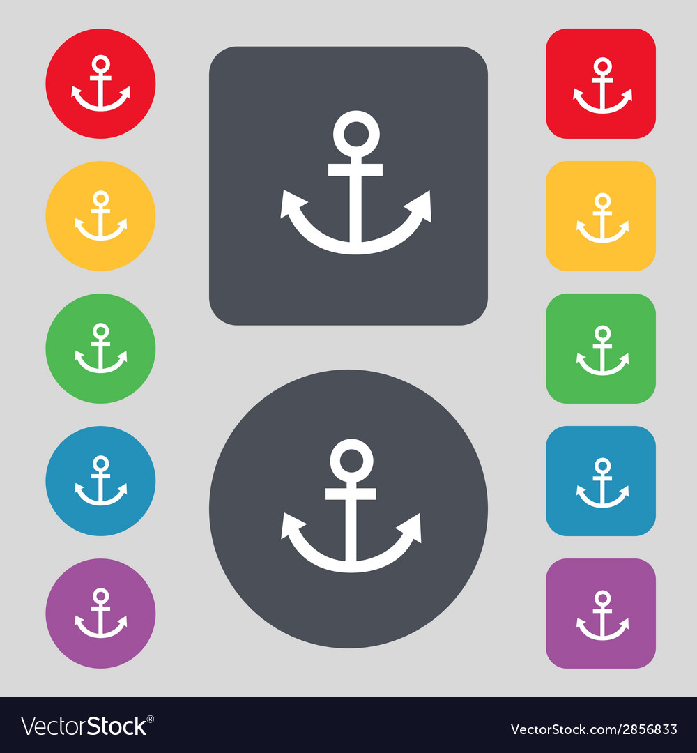 Anchor icon set colourful buttons sign vector | Price: 1 Credit (USD $1)