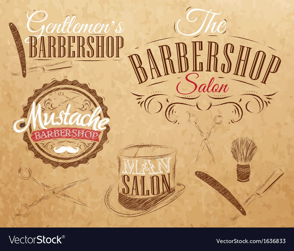 Barbershop set kraft vector | Price: 1 Credit (USD $1)