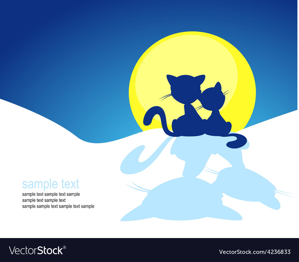 Cat silhouette in winter sunset - vector | Price: 1 Credit (USD $1)
