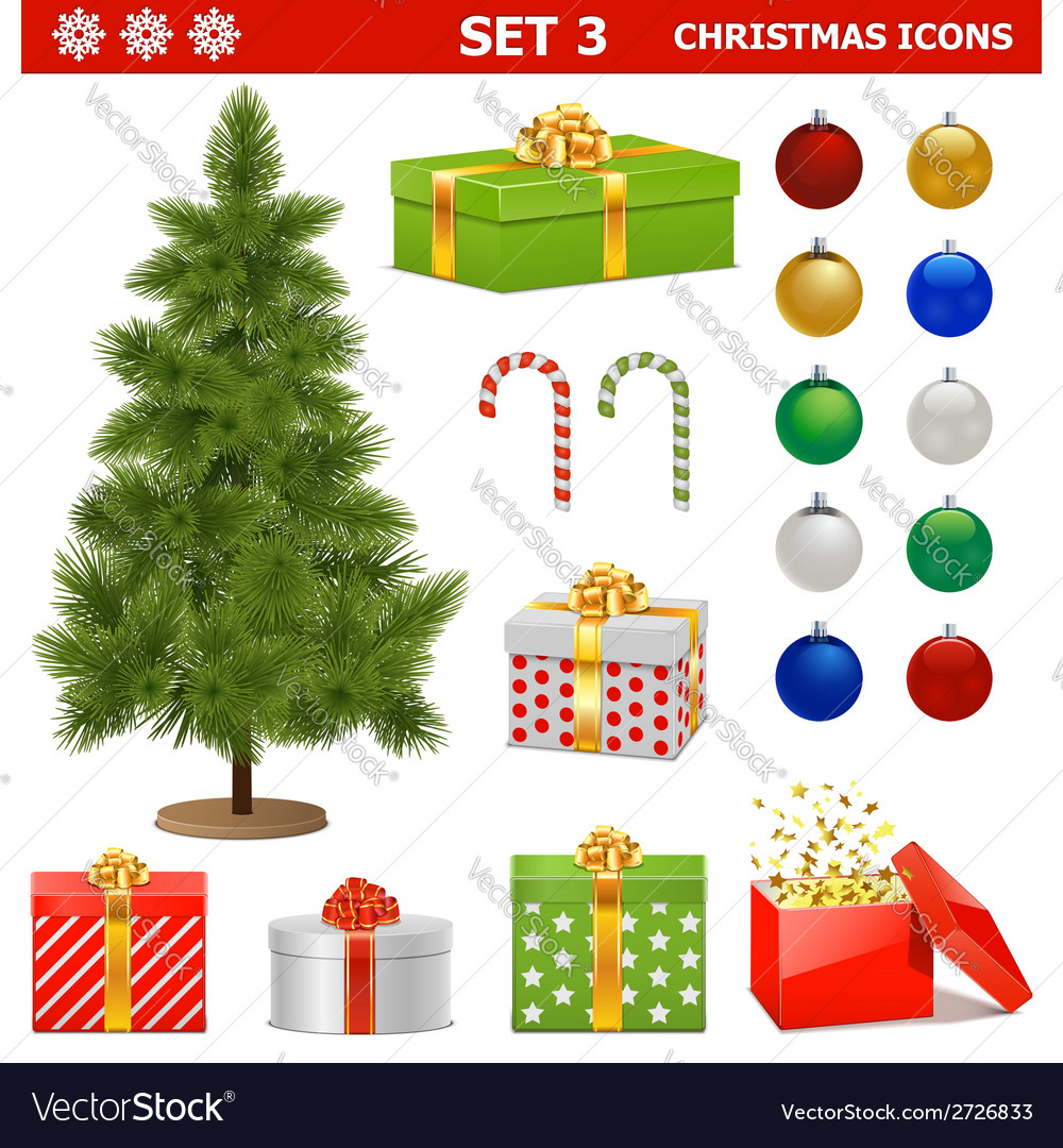 Christmas icons set 3 vector | Price: 1 Credit (USD $1)