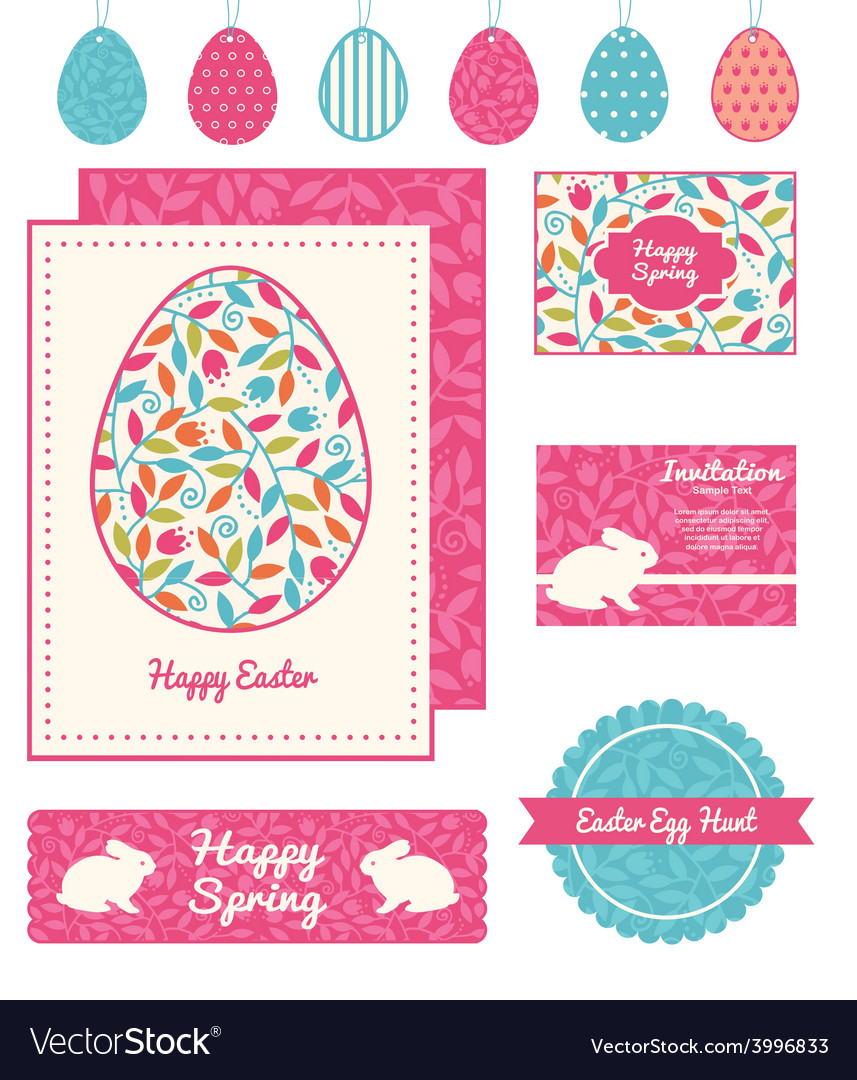 Colorful branches set of easter cards vector | Price: 1 Credit (USD $1)