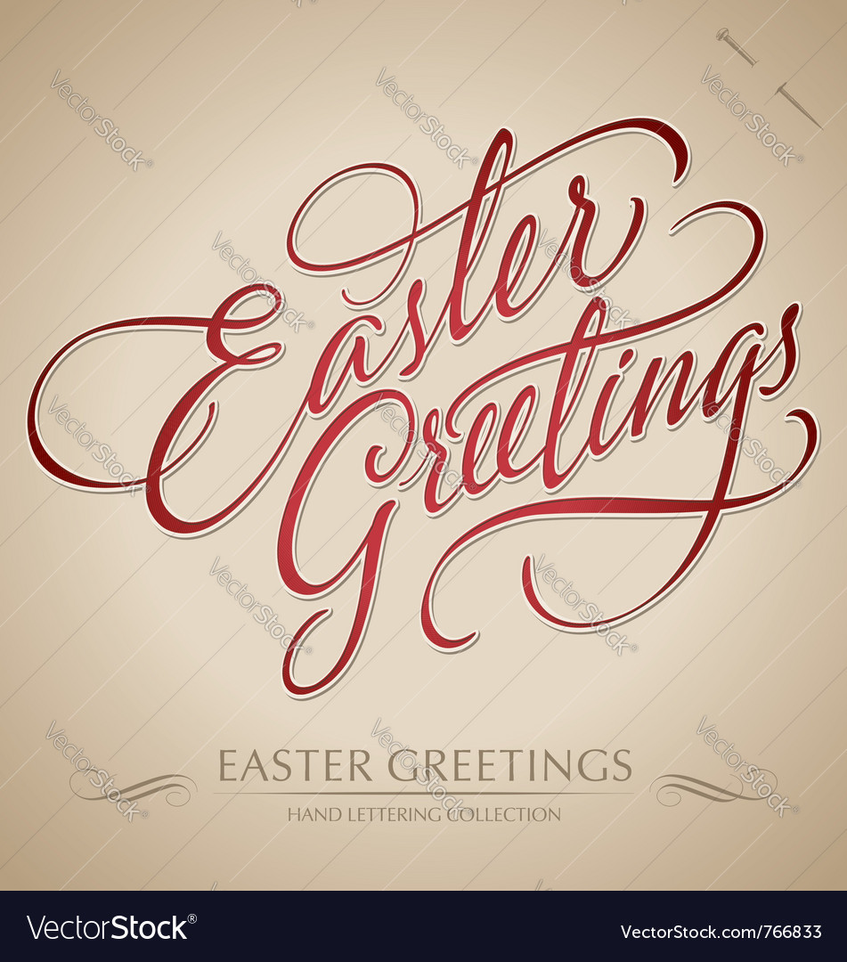 Easter greetings hand lettering vector   Price: 1 Credit (USD $1)
