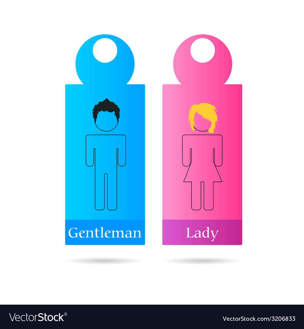 Gentleman and lady sign for toilet vector | Price: 1 Credit (USD $1)