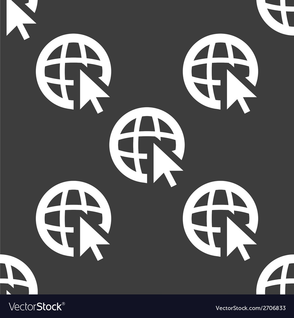 Globe web icon flat design seamless pattern vector | Price: 1 Credit (USD $1)