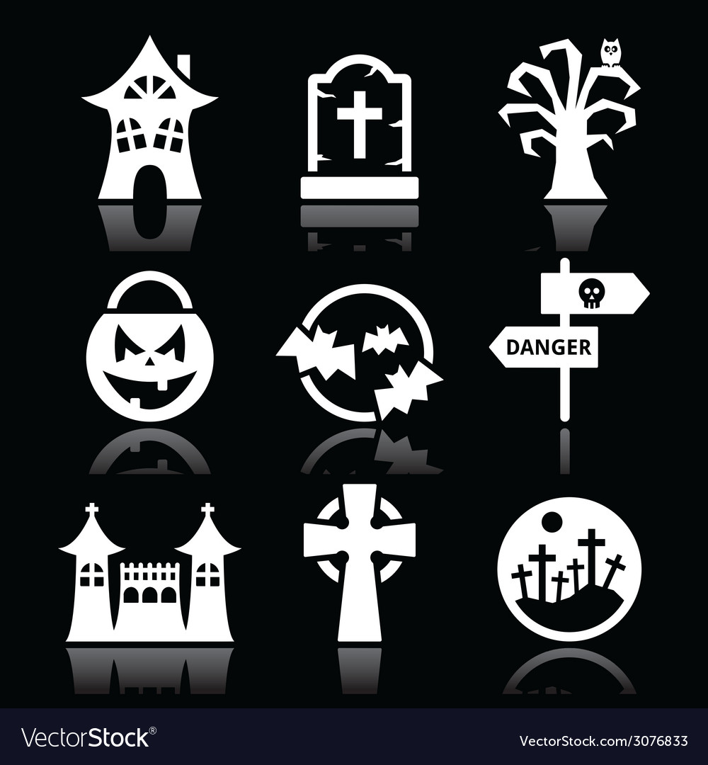 Halloween white icons set on black vector | Price: 1 Credit (USD $1)