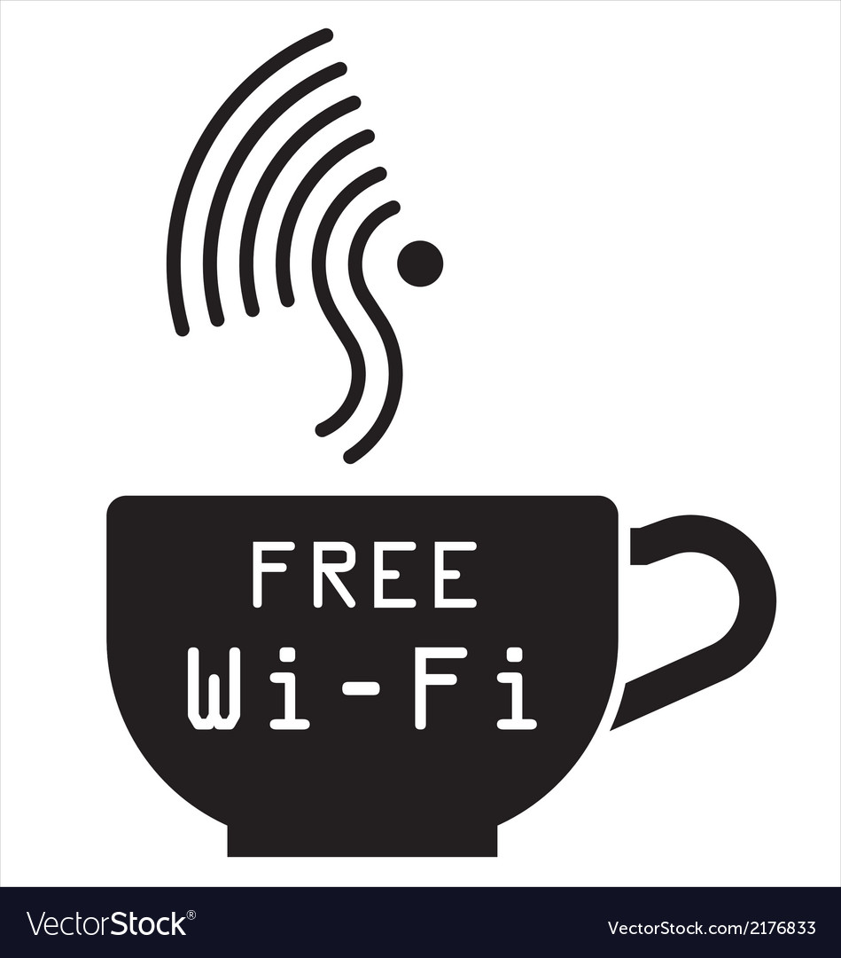 Internet cafe free wifi symbol vector | Price: 1 Credit (USD $1)