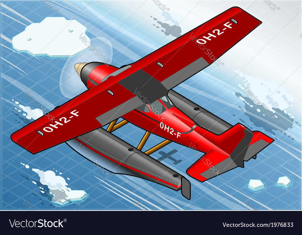 Isometric artic hydroplane in flight in rear view vector | Price: 1 Credit (USD $1)