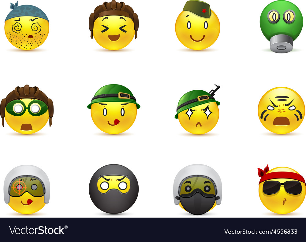 Military anime smilies vector | Price: 1 Credit (USD $1)