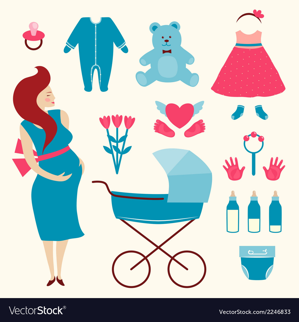 Pregnant young woman and baby clothes vector | Price: 1 Credit (USD $1)