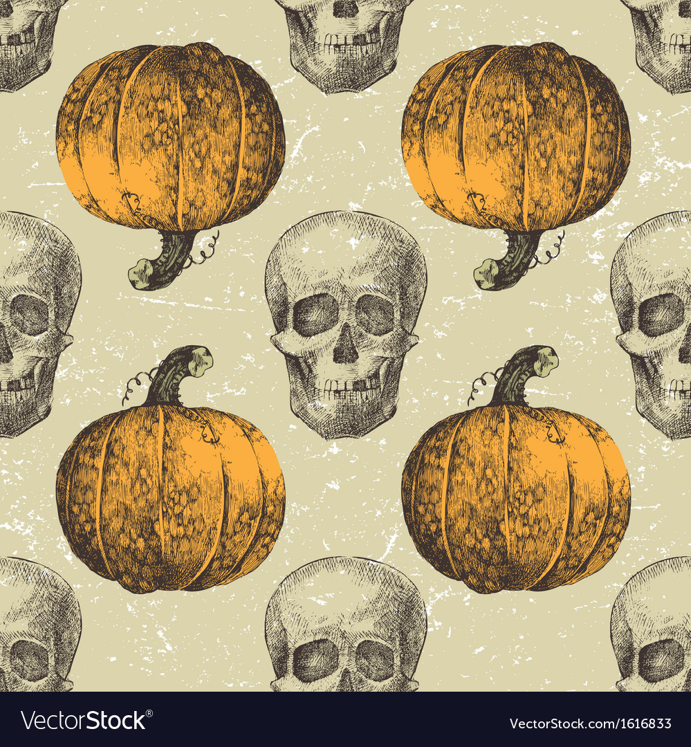 Skull seamless with pumpkins vector | Price: 1 Credit (USD $1)