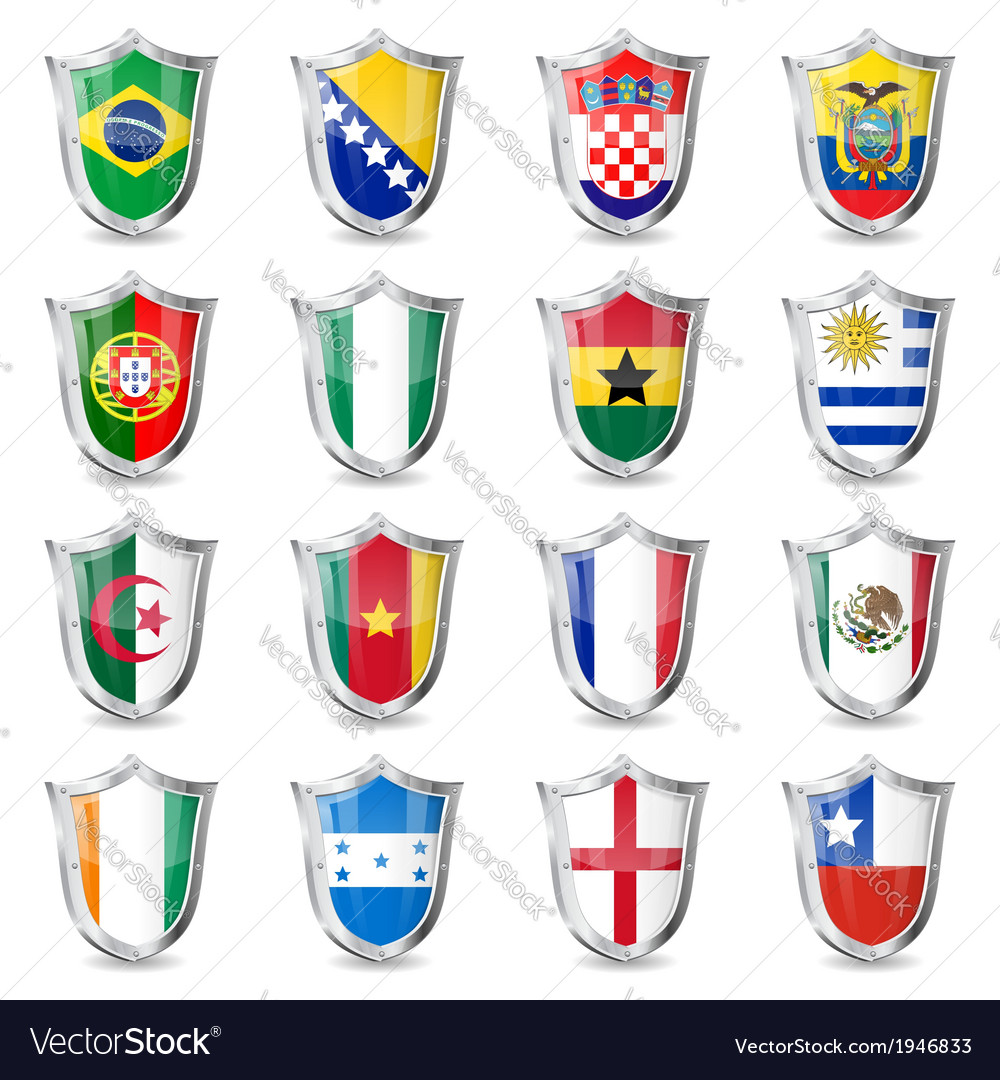 Soccer flags on shields vector | Price: 1 Credit (USD $1)