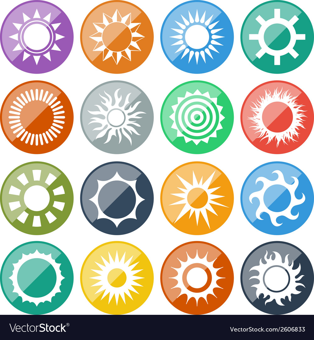 Sun icons set vector | Price: 1 Credit (USD $1)